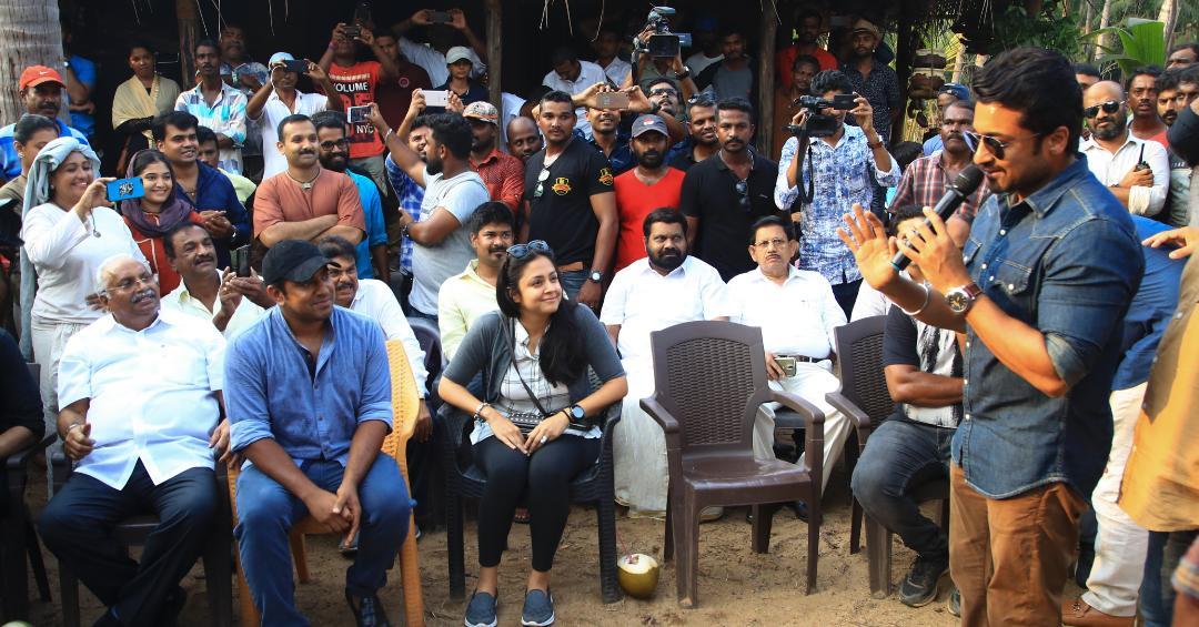 நிவின்பாலி பட ஷூட்டிங்கில் கலந்துகொண்ட சூர்யா - ஜோதிகா..!
