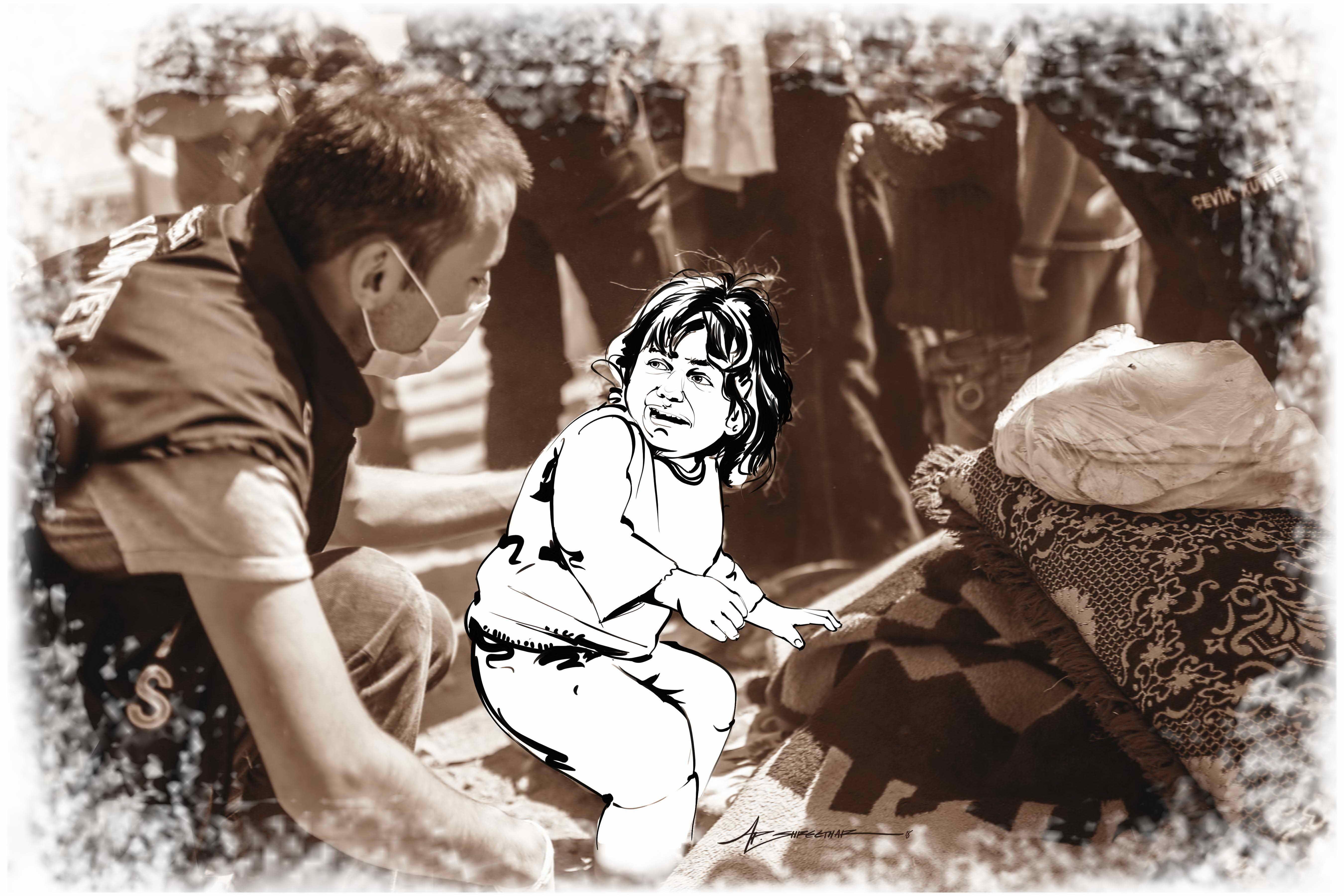 சிரியா போரை மையமாக வைத்து ஸ்ரீதர் வரைந்த ஓவியங்கள்..!