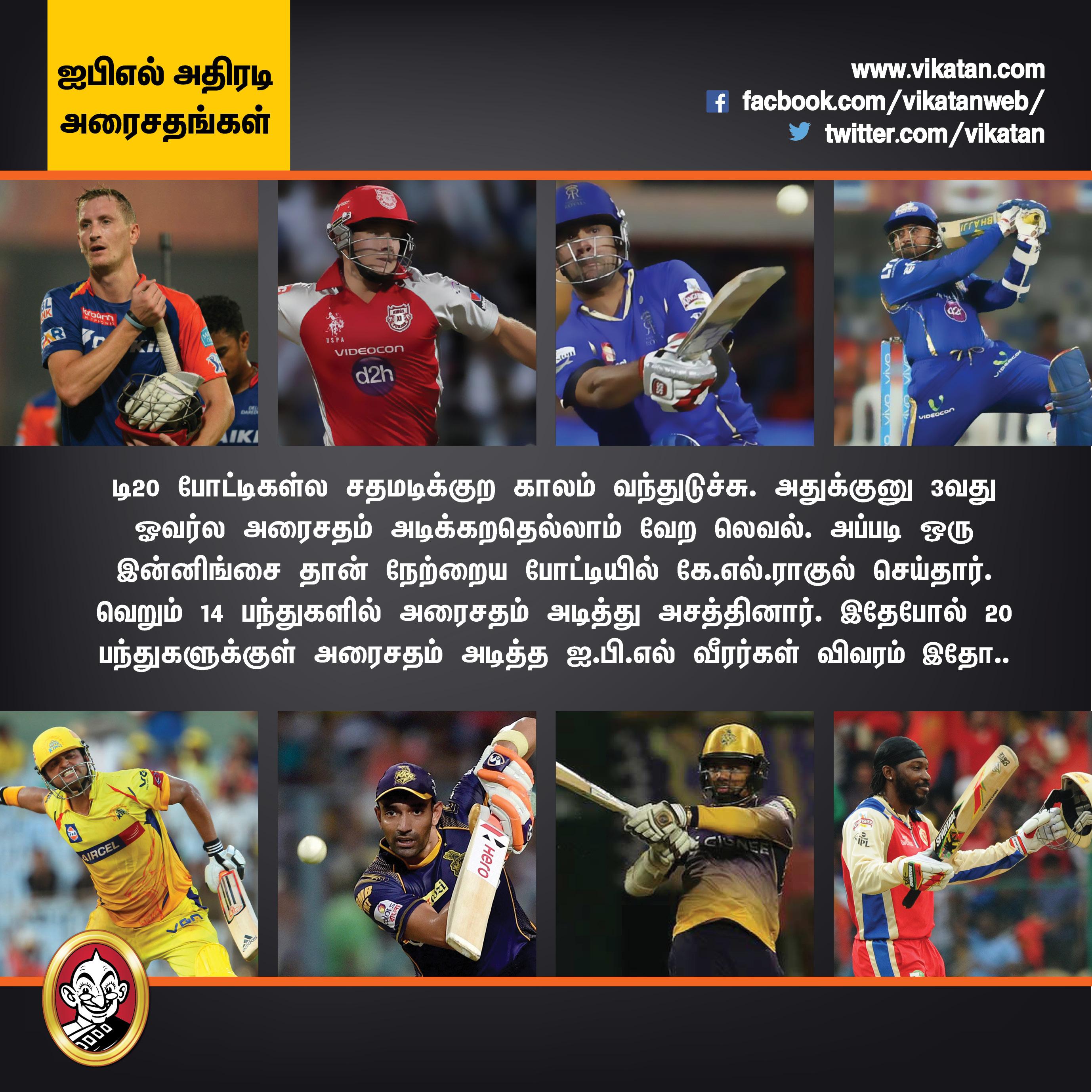 கே.எல்.ராகுல் முதல் ஹர்பஜன் வரை... அதிவேக அரைசத கில்லிகள்! #IPL2018 #VikatanPhotoCards