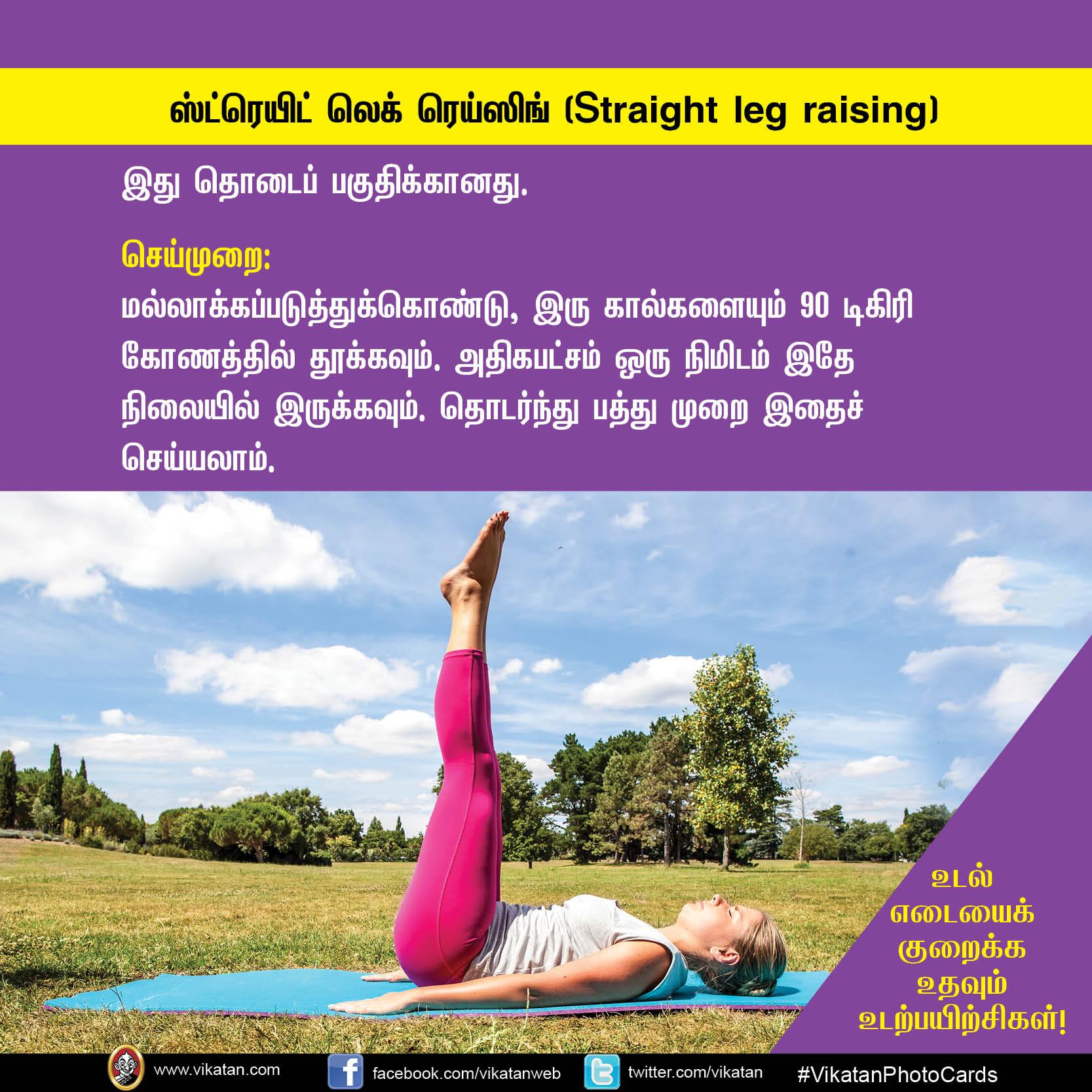 உடல் எடையைக் குறைக்க உதவும் உடற்பயிற்சிகள்! #VikatanPhotocards
