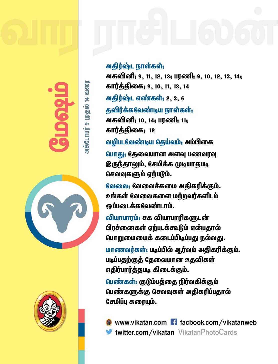 இந்த வார ராசிபலன் அக்டோபர் 9 முதல் 14 வரை #VikatanPhotoCards