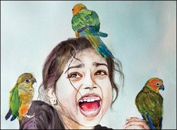 உலகம் எங்கும் விற்கிறது... தமிழ்ப் பெண்ணின் ஓவியங்கள்!