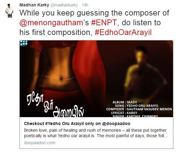 Who is the music composer of Enai Nokki Paayum Thotta