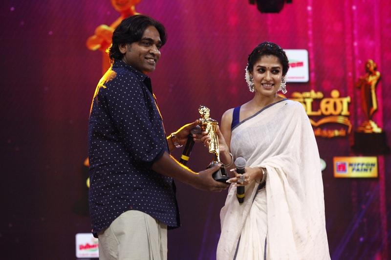 Vijay sethupathi and nayanthara in Vikatan Awards