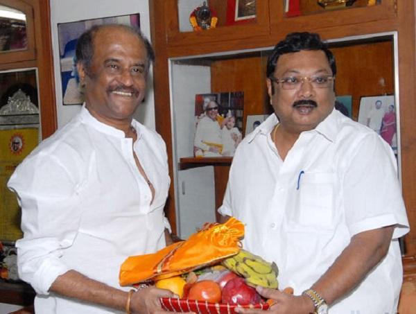MK Stalin with Rajini