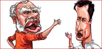 பூசாரி மோடி... 'பப்பு' ராகுல்!