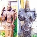 பாதுகாப்பாற்ற நிலையில்  திருமால் சிற்பங்கள்!