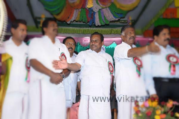 ADMK Minster Shanmuganathan with O Panneerselvam