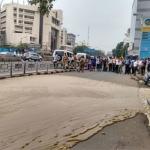 சென்னை அண்ணாசாலையில் பொங்கி ஓடிய மணல் ஆறால் பரபரப்பு