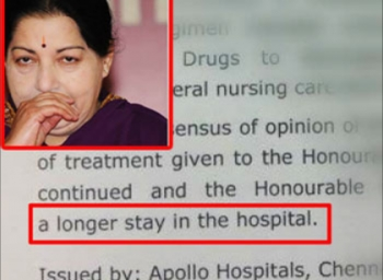 Jayalalithaa requires a longer stay in hospital