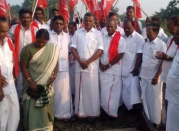 Protest in railway stations around tamilnadu