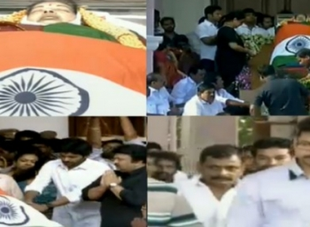 Actors, Politicians, People pay tributes to Jayalalithaa at Rajaji Hall - LIVE