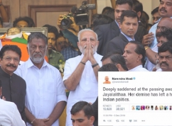 Did modi tweet condolence before the official announcement of Jayalalithaa's death