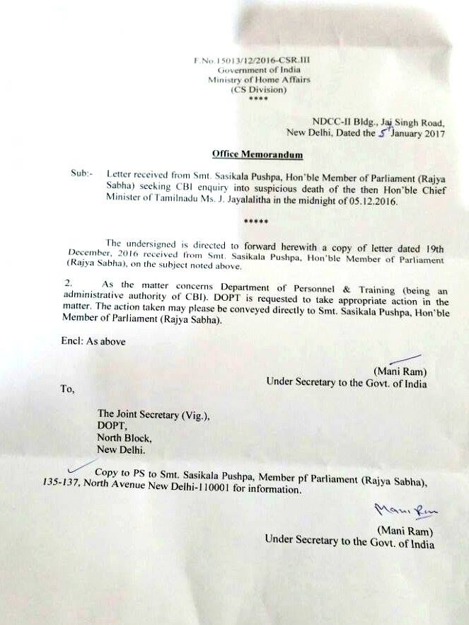 Home ministry ordered Dopt in Jayalalithaa's demise