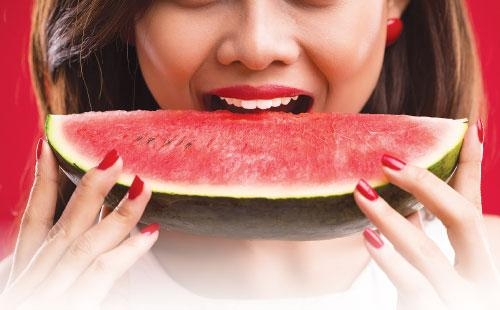 water melon eating girls