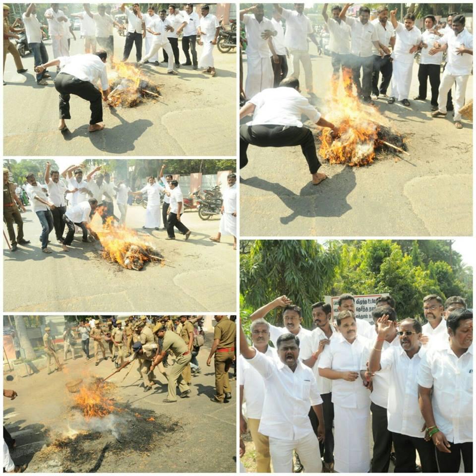 OPS effigy burned