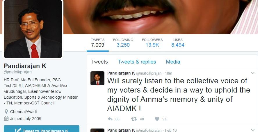 Mafo Pandiyarajan Tweet