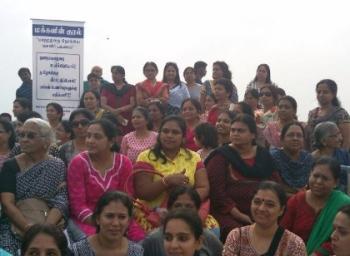 ஊழலுக்கு எதிராக சென்னை பெசன்ட் நகர் கடற்கரையில் திரண்ட பெண்கள்!