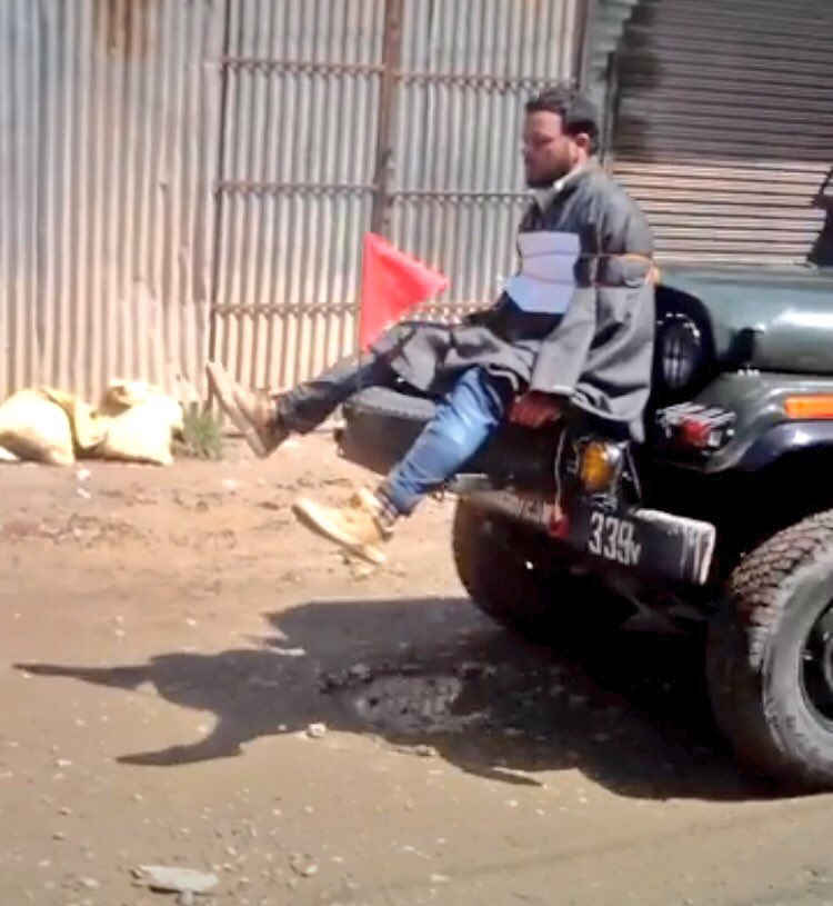 Kashmir: Man tied to Jeep