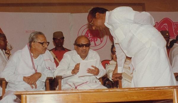 க.அன்பழகன், கருணாநிதி, ஆற்காடு வீராச்சாமி