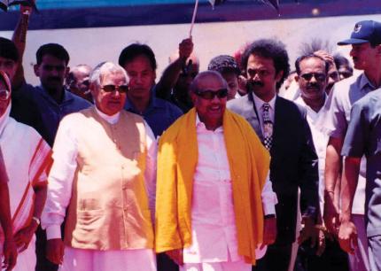 Karunanidhi with Vajpayee and stalin