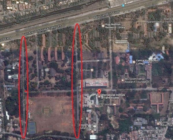 கல்லூரி வளாகம் மற்றும் மூடப்படும் சாலைகள்