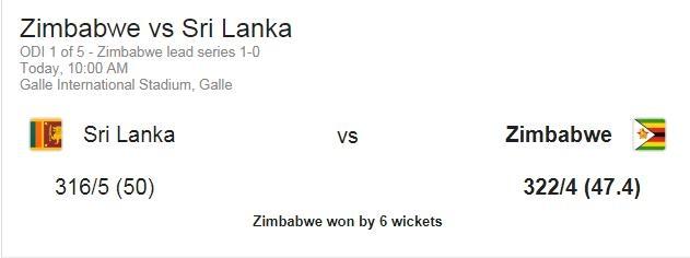 ஜிம்பாப்வே - இலங்கை 1st ODI