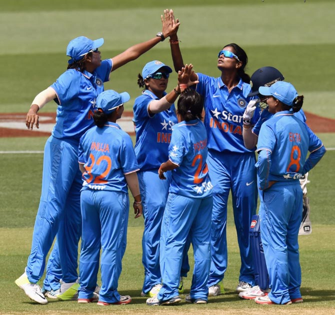 Indian Women's team celebrating Wicket