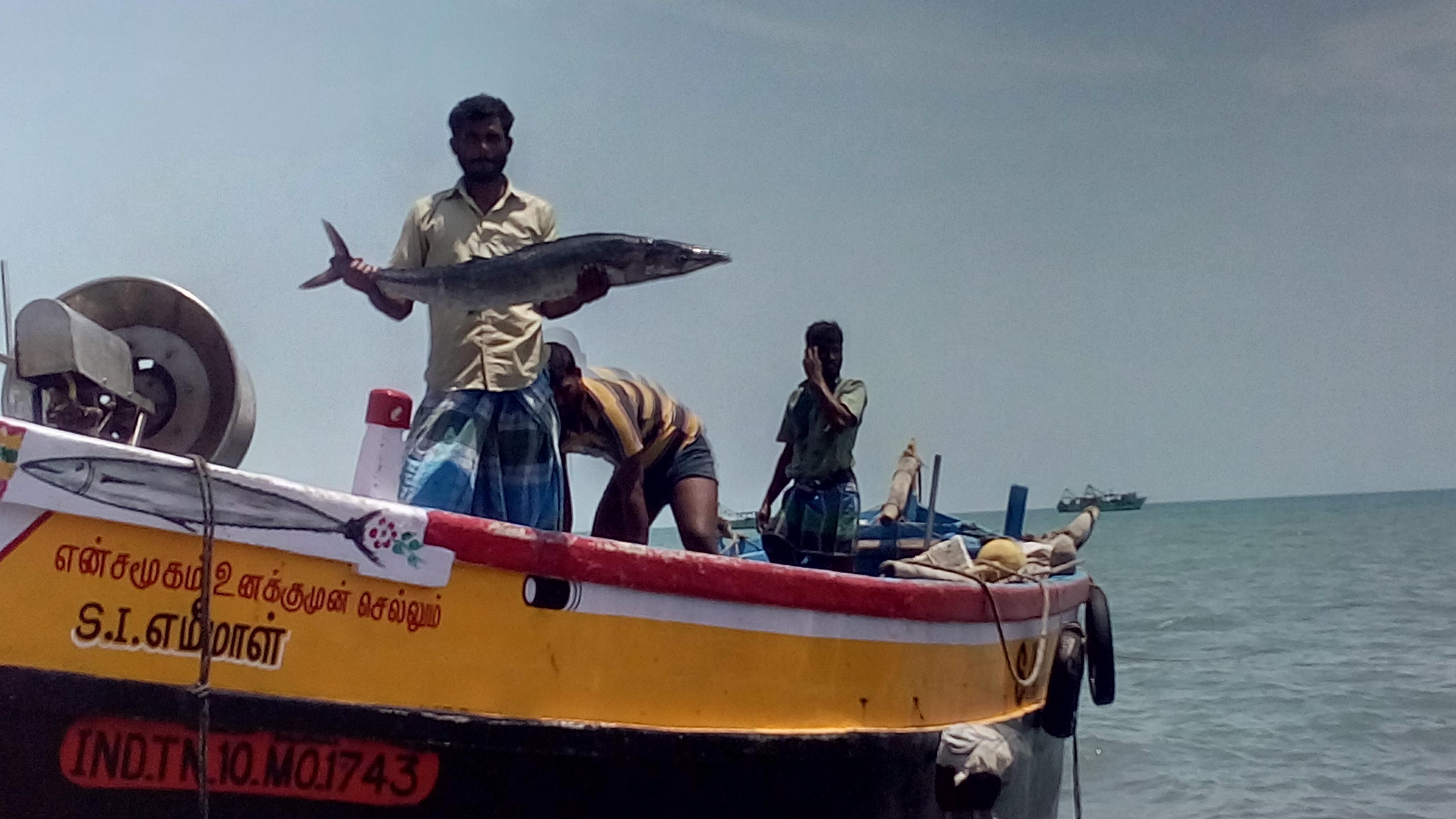 சூரை மீனுடன் மீனவர்