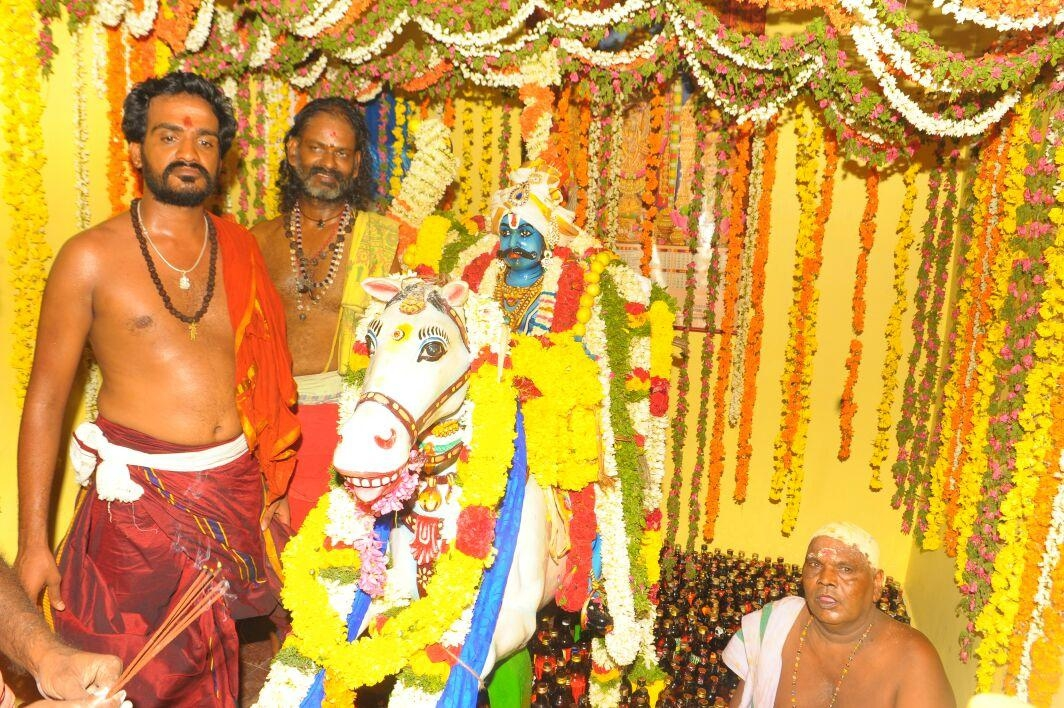 Karuppusamy Kovil Annual Liqueur Bottle Worship