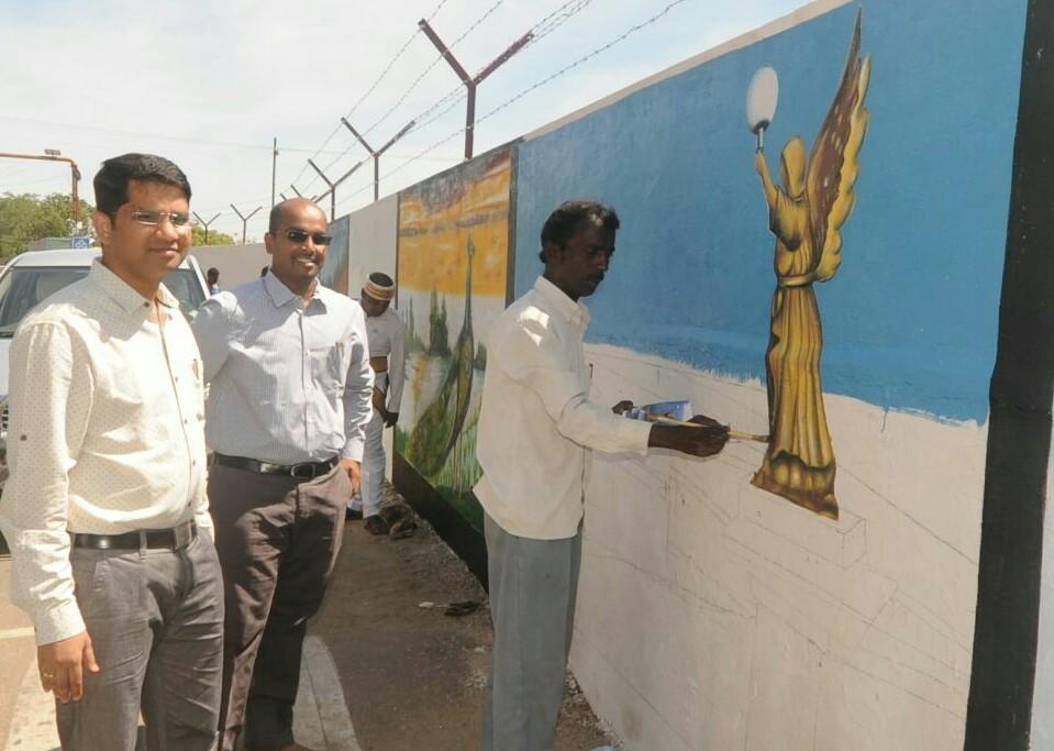 painting work started on thoothukudi wall