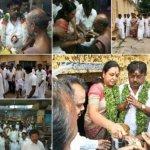 விஜயகாந்த் மனைவியுடன் திருச்சியில் சாமி தரிசனம்