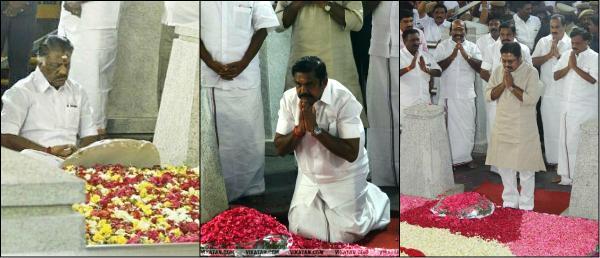 ஜெயலலிதா சமாதியில்