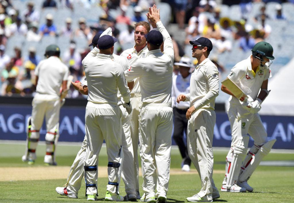 Stuart broad celebrates his 4 wicket haul- Ashes