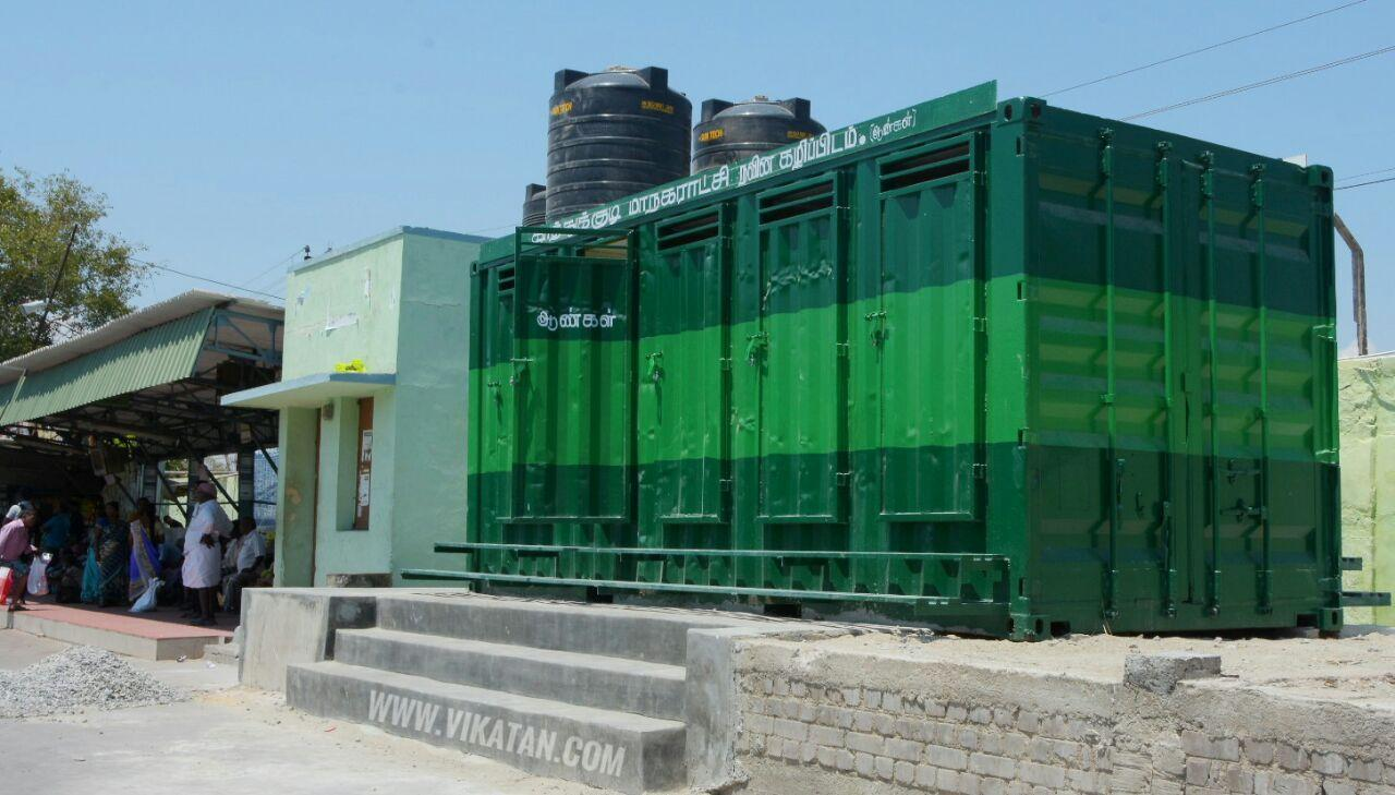 container toilet in thoothukudi bus stand