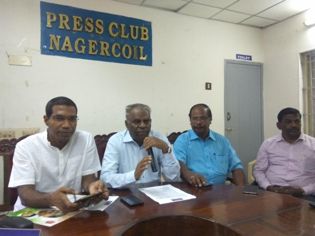 நாம் குமரி மக்கள் அமைப்பின் நிறுவனர் ஜெகத்கஸ்பர், தலைவர் தேவசகாயம் ஐ.ஏ.எஸ். ஆகியோர் நாகர்கோவிலில் இன்று செய்தியாளர்களை சந்தித்தனர்.