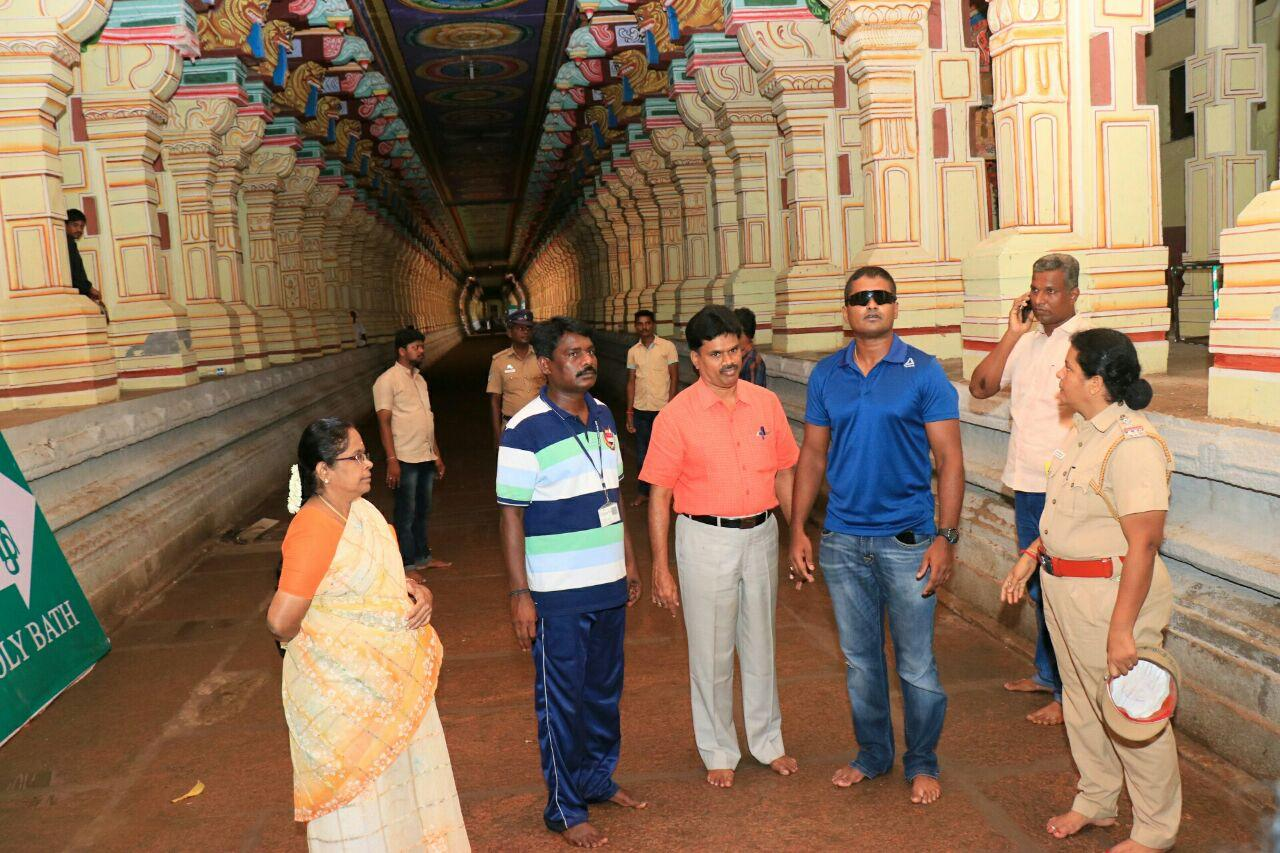 ராமேஸ்வரம் கோயிலில் ஆய்வு மேற்கொண்ட தேசிய பாதுகாப்பு படையினர்