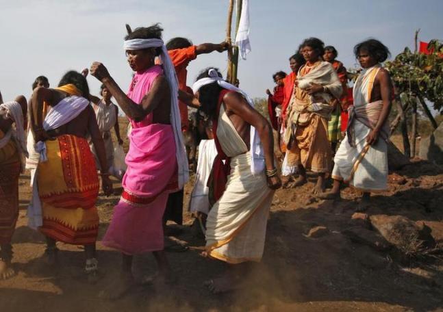 நியமகிரி மலை கோந்த் பழங்குடிகள் போராட்டத்தின்போது