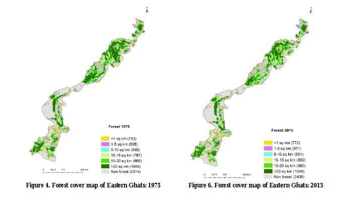 1975 மற்றும் 2013ல் கிழக்குத் தொடர்ச்சி மலைக்காடுகளின் பரப்பளவு