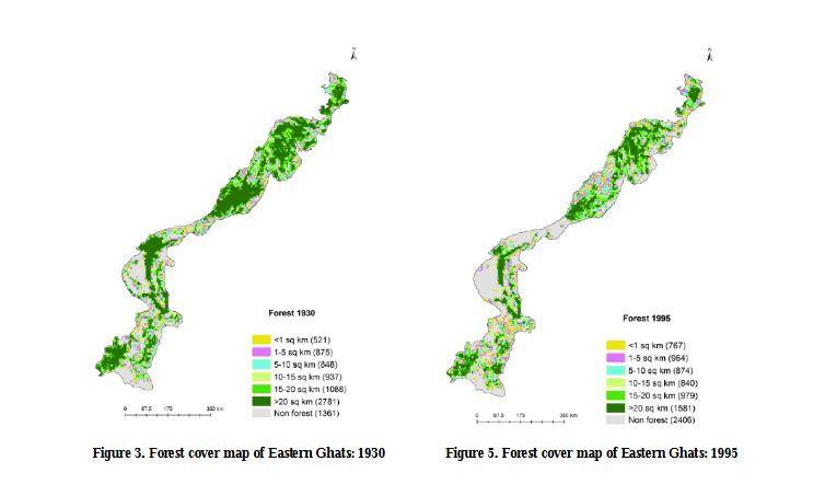 1930 மற்றும் 1995ல் கிழக்குத் தொடர்ச்சி மலைக்காடுகளின் பரப்பளவு