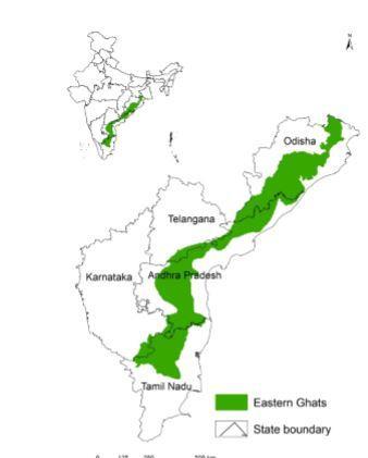 வரைபடத்தின் படி கிழக்குத் தொடர்ச்சி மலைக் காடுகள்