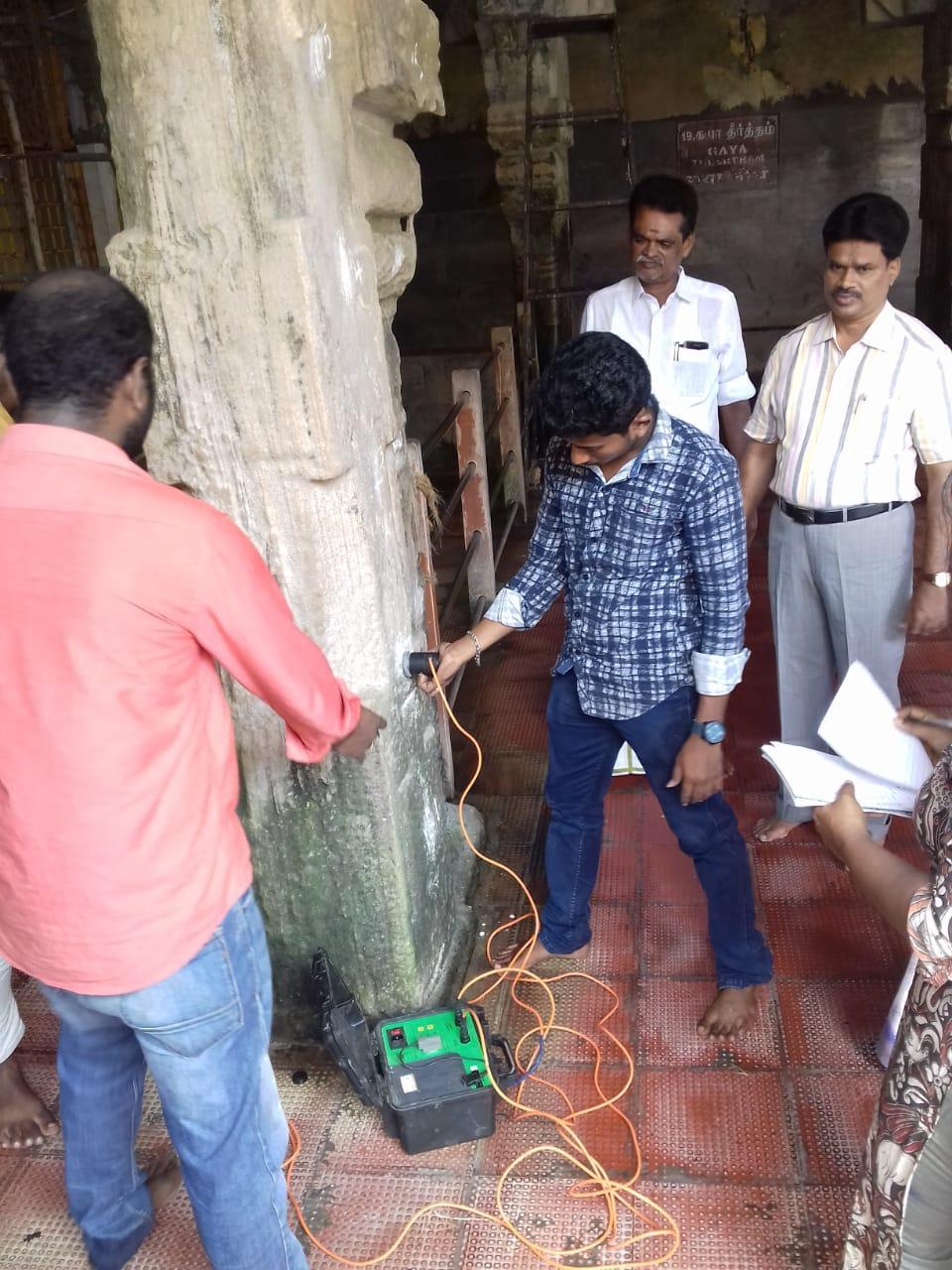 ராமேஸ்வரம் கோயிலில் உறுதி தன்மை குறித்து ஆய்வு