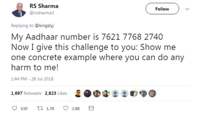 ஆர் எஸ் ஷர்மாவின் ட்வீட்