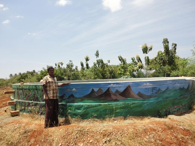 'நீர்மேலாண்மை' பற்றி வாசகங்கள் கொண்ட பலகை