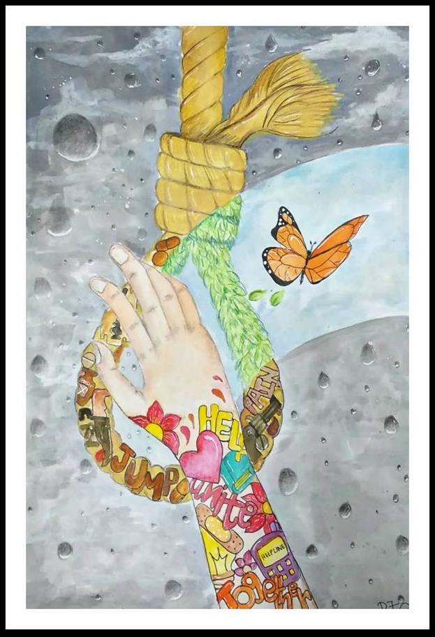 தற்கொலைத் தடுப்பு ஓவியம் - மரு.ரிஸ்வானா, முதுநிலை மனநல மருத்துவ மாணவி, அ.ம.கா., சென்னை