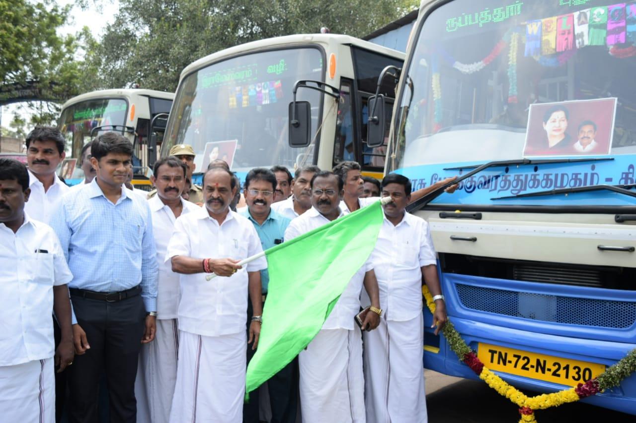 புதிய பேருந்துகளை தொடங்கி வைத்தார் செய்தித்துறை அமைச்சர் கடம்பூர் ராஜூ