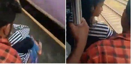 `ஓடும் ரயிலில் இருந்து தவறிய பெண்!' - கண் இமைக்கும் நேரத்தில் நடந்த ட்விஸ்ட்  #Viral