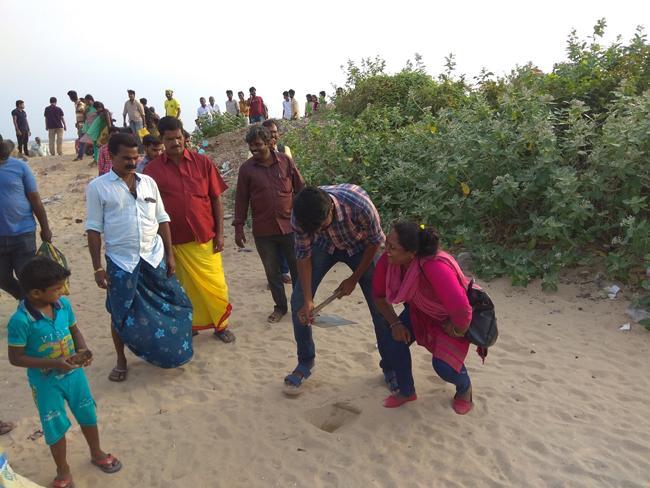 சென்னை கடற்கரையில் பனை விதைக்கும் சதீஷ்