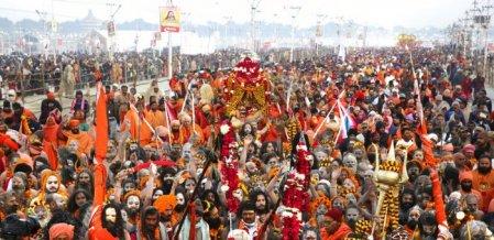 கோலாகலமாகத் தொடங்கியது கும்பமேளா -முதல் நாளில் 1.5 கோடி பக்தர்கள் புனித நீராடினர்!
