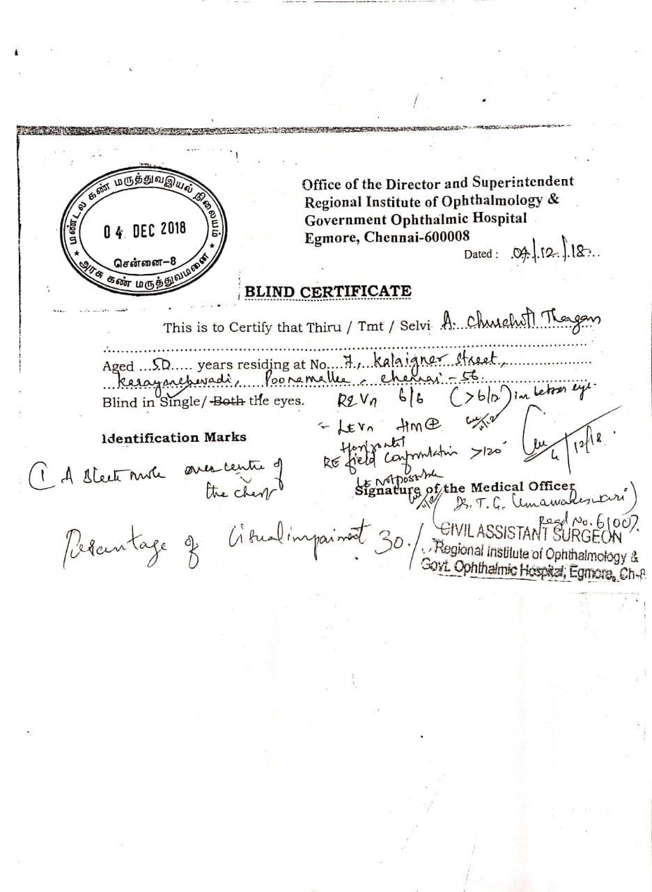 Blind certificate